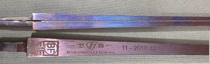 Blaise Freres BF blue FIE foil blade wired with German Point